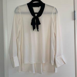 Zara Basics Tie Neck Blouse